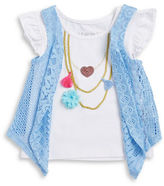 Flapdoodles Girls 2-6x? Little Girls Flutter-Sleeve Necklace T-shirt and Vest Set0500035035070
