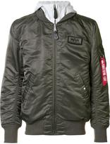 Alpha Industries removable hoodie bomber jacket