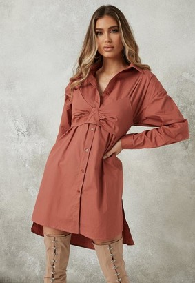Missguided Pink Bralette Overlay Shirt Dress