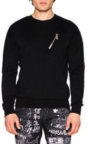 DSQUARED2 Ribbed-Sleeve Wool Moto Sweater, Black