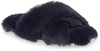 J.Crew Fuzzy Crisscross Slippers