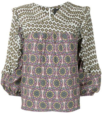 Nicole Miller Abstract-Print Long-Sleeve Blouse