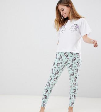 ASOS DESIGN Petite unicorn pyjama tee & legging set