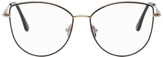 Tom Ford Black and Gold Soft Cat-Eye Glasses