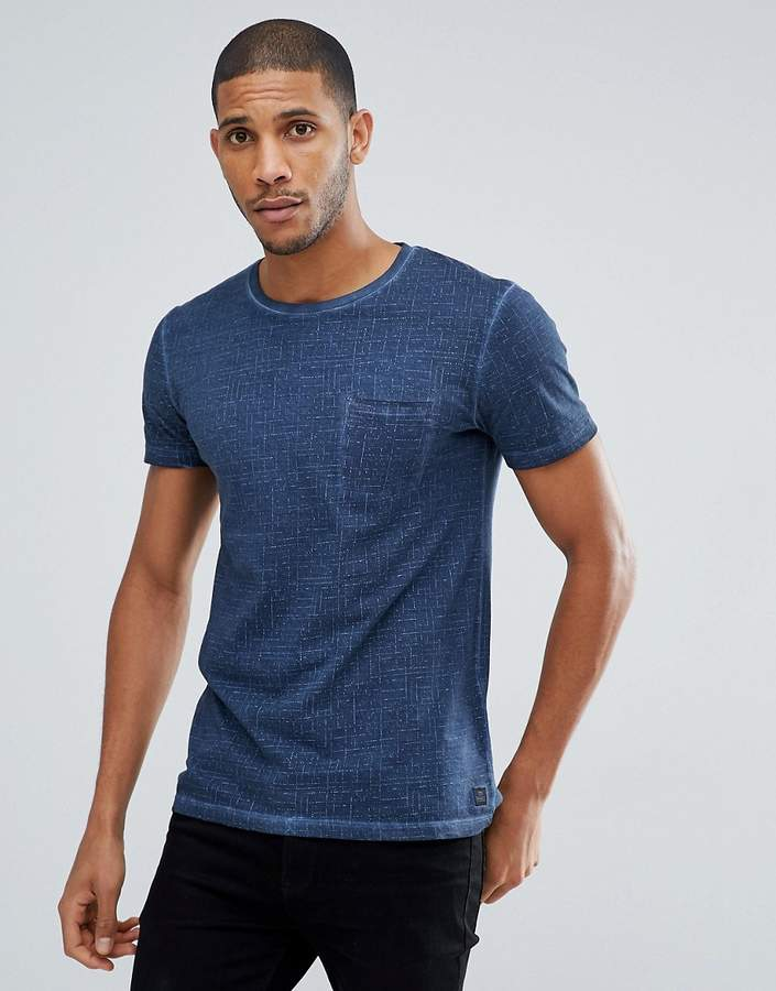 Tom Tailor T-Shirt In Navy Texture With Pocket