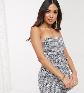 4th & Reckless Petite exclusive tailored romper in navy boucle