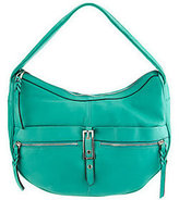 B. Makowsky As Is Leather Zip Top Hobo Bag With Buckle Accent