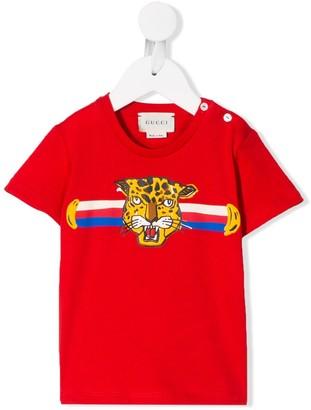 Gucci Kids leopard head print T-shirt