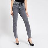 River Island Grey acid wash Brooke high rise slim jeans