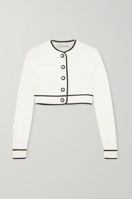 Emilia Wickstead Justine Cropped Cloque Jacket - White