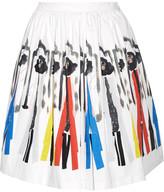 Alice + Olivia Hale Printed Stretch-cotton Skirt - White