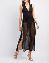 Charlotte Russe Mesh Overlay Maxi Dress