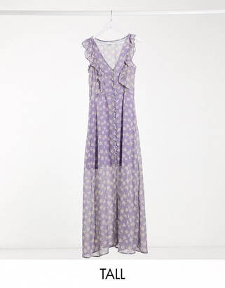 Brave Soul Tall indigo frill front maxi dress in lilac ditsy floral print