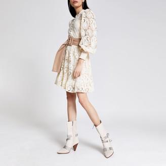River Island Womens White crochet button front mini dress