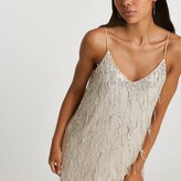 Thumbnail for your product : River Island Womens Silver sequin tassel slip dress