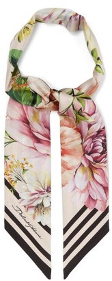 Dolce & Gabbana Floral And Stripe-print Silk Scarf - Womens - Pink Multi