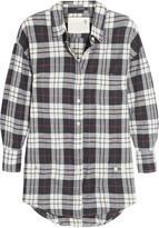 R 13 Wrap-effect plaid cotton-blend shirt