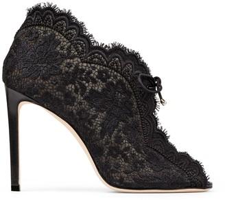 Jimmy Choo KAIANA 100 Black lace embroidered heels