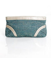 Lauren Merkin Multi-Color Gold Metallic Trim Clutch Handbag