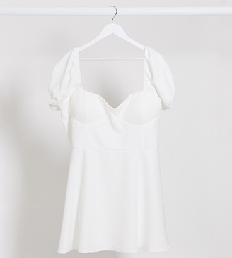 Lasula Plus puff sleeve dress in white