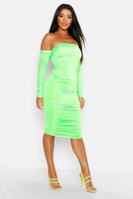 boohoo Off Shoulder Long Sleeved Ruched Midi Dress