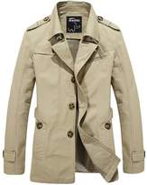 Wantdo Men's Cotton Single Breasted Trench Jacket