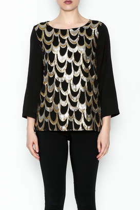 Skies Are Blue Black Shimmer Top
