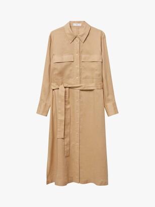 MANGO Linen Midi Shirt Dress