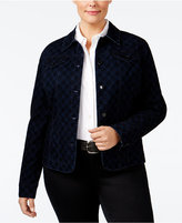 Charter Club Plus Size Printed Flocked Denim Jacket, Only at Macy's