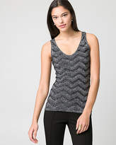 Le Château Textured Metallic Knit V-Neck Sweater