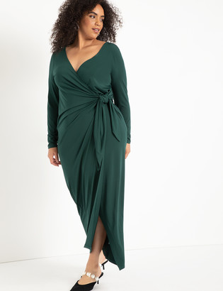 ELOQUII Wide Neck Wrap Gown