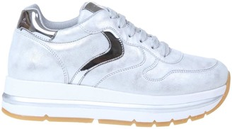 Voile Blanche Maran Sneakers In Silver Calfskin