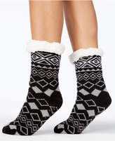 Charter Club Women's Printed Slipper Socks with Fleece and Grippers, Created for Macy's