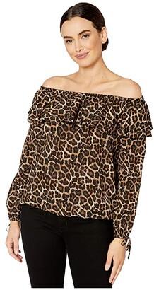 MICHAEL Michael Kors Ruffle Peasant Top (Dark Camel) Women's Clothing