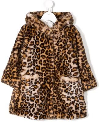 MonnaLisa Leopard-Print Faux Fur Coat