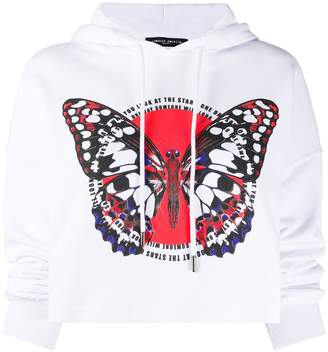 Frankie Morello butterfly-print cropped hoodie
