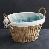 Crate & Barrel Wicker Laundry Basket with Liner