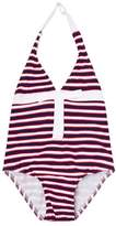 Melissa Odabash Navy, Red and White Stripe Halterneck Swimsuit
