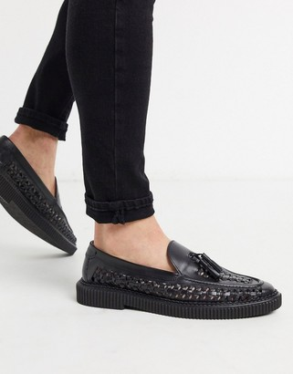 House of Hounds orion woven loafers in black leather