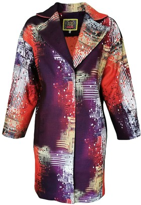 Lalipop Design Mid-Length Dropped Shoulder Abstract Digital Print Cocoon Coat
