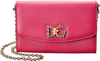 Dolce & Gabbana Embellished Leather Wallet On Chain