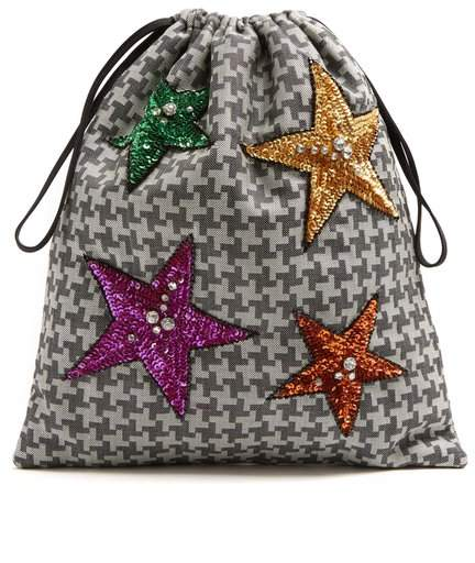 Attico - Sequin Embellished Hound's Tooth Drawstring Pouch - Womens - Grey Multi