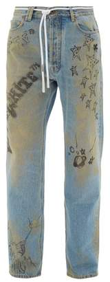 Off-White Off White Distressed Doodle Print Jeans - Mens - Blue