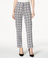 Kasper Geo-Print Slim-Leg Pants