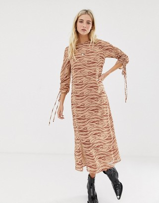 Glamorous midi dress with front splits and ruched sleeves and in subtle zebra-Beige