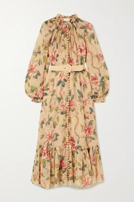 Zimmermann Kirra Belted Cotton And Silk-blend Crepon Maxi Dress - Neutral