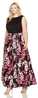 Sangria Women's Plus Size Floral Gown Black/Multi 20W
