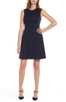 Eliza J Houndstooth Knit Fit & Flare Dress