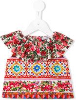 Dolce & Gabbana printed ruffled blouse - kids - Cotton - 6 mth