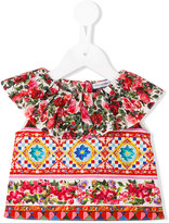 Dolce & Gabbana printed ruffled blouse - kids - Cotton - 9 mth